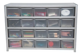 Anaquel Gabinete Metálico Visible Con 20 Cajitas Organizador