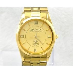Relógio Masculino Luxo Dourado Ardour Frete Grátis