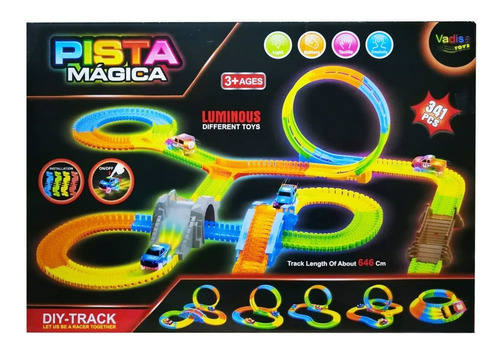 Pista Flexible Magic Tracks 341pcs Luminosa 2 Carros Gd-8341