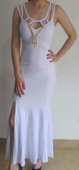 Vestido Elegante Blanco De Fiesta