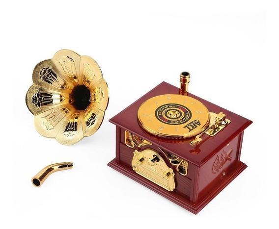Caja De Música En Forma De Gramófono Vintage Romántico Maniv