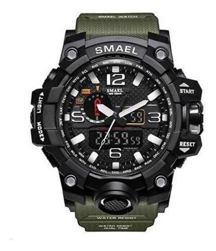 Relógio Smael Militar 1545 Preto E Verde