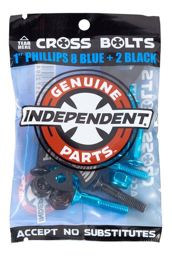 Parafusos Independent: Cross Bolts Phillips Blue Black 1''