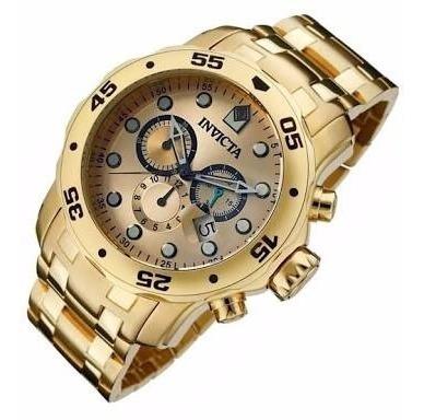 Relógio Invicta Pro Diver 0074 Banhado A Ouro Com Caixa.
