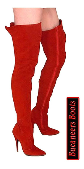 Botas Bucaneras, Lady In Red, Taco Fino De Gamuza Pu!