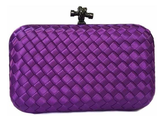 Bolsa Clutch Trançada Violeta