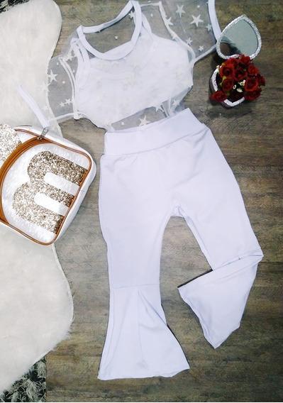 Conjunto Infantil T-shirt Tule+top+calça Flare Do 2 Ao 10