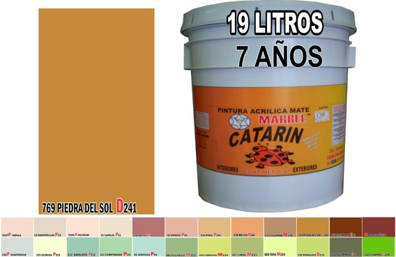 Pintura Vinílica Acrílica (agua) Lavable 19 Lts 168 Colores