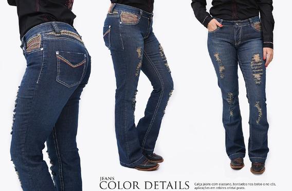 Calça Jeans Feminina Miss Country Bordada Frete Grátis