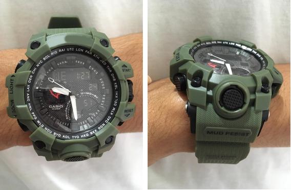 Relógio Completo Militar Masculino Com Caixa Estilo Shock