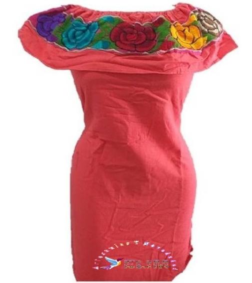 Elegante Vestido Coral Artesanal Campesino Bordado Oferta
