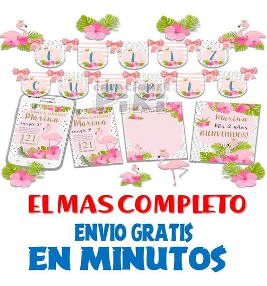 Kit Imprimible Candy Bar Flamenco Rosa El Mas Completo