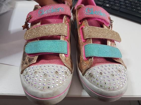 Zapatillas Skechers Doradas Talle 35. Con Luces. Casi Nuevas