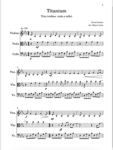 Imagem 1 de 1 de Arranjo Titanium Violino, Viola, Cello