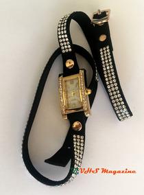 Relógio Feminino Quadrado Com Strass Bonito E Barato Sku011