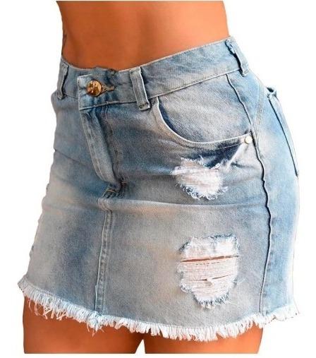 Saia Jeans Curta Desfiada Destroyed Cintura Alta (promoção)