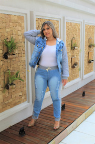 Calça Jeans Feminina Plus Size Com Alastano Veste 46 Ao 54