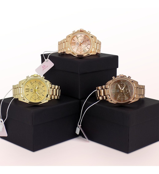 Kit 3 Relógio Feminino Dourado 100% Original + Caixa