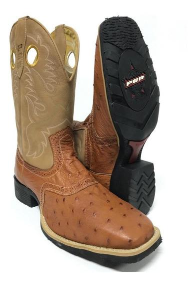 Bota Texana Country Masculina Pbr Couro Legítimo De Avestruz