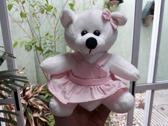 Ursinha Urso 20cm Pelúcia Vestido Rosa De Bolinha Menina