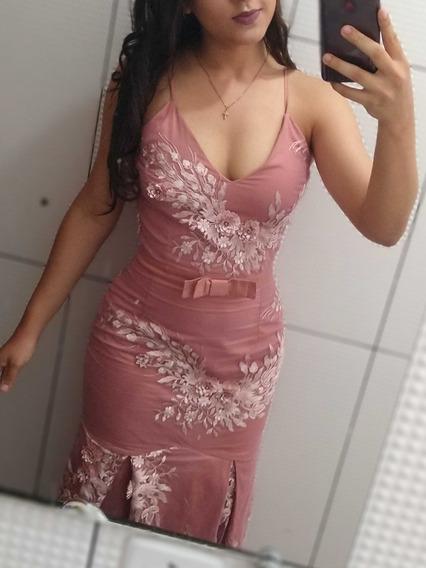 Vestido Longo (revertido Em Renda Trabalhada)