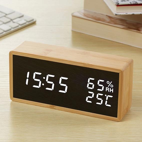 Relógio Digital Bamboo Led Data Temperatura Medio Pilha Usb