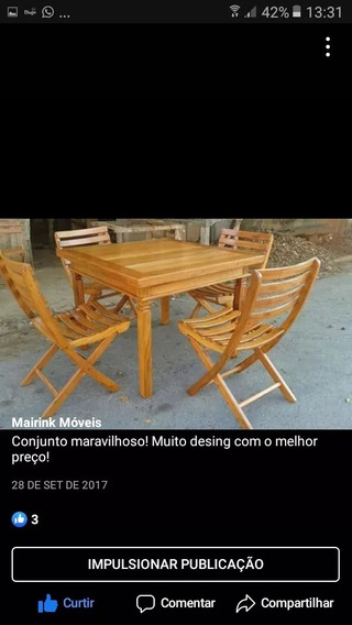 Mesa Quadrada De 1 X 1 M / Mais 4 Cadeiras Dobraveis