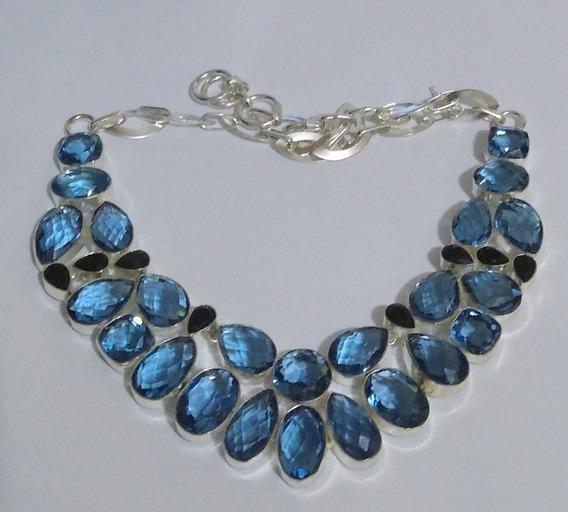 Colar Feminino Com Topázio Azul Natural Em Prata