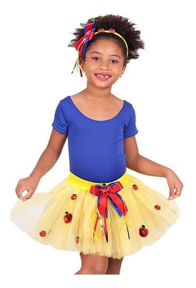 Conjunto Tule Infantil Carnaval Fantasia Branca Saia+collant