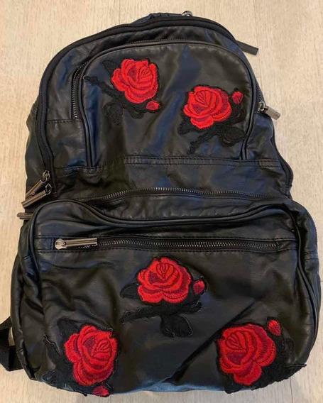Mochila 47 Street De Cuero Negro Roses (leer Con Atencion)