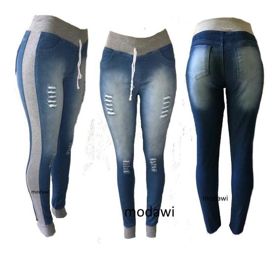 Kit Com 3 Calça Feminina Jeans Com Moletom Dos Lados