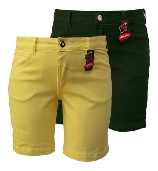 Bermuda Jeans Feminina Color Plus Size Tamanhos 46 Ao 60