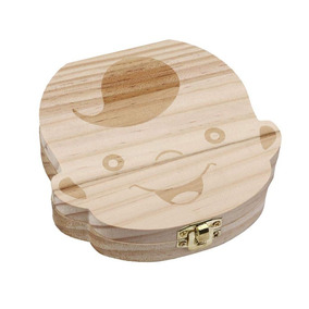 Caixa De Dente De Bebê De Madeira Com Imagem De Menino