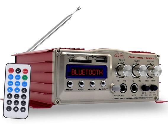 Amplificador Áudio Receiver 200w Bluetooth Usb Som Karaoke