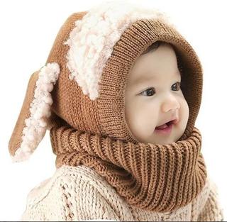 Gorro Tejido De Invierno Con Cuello Y Orejeras Para Bebé