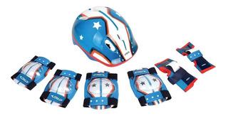 Proteção Infantil Capacete + Joelheira + Cotoveleiras Es104