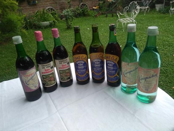 Antiguas Botellas De Vinagre,llenas