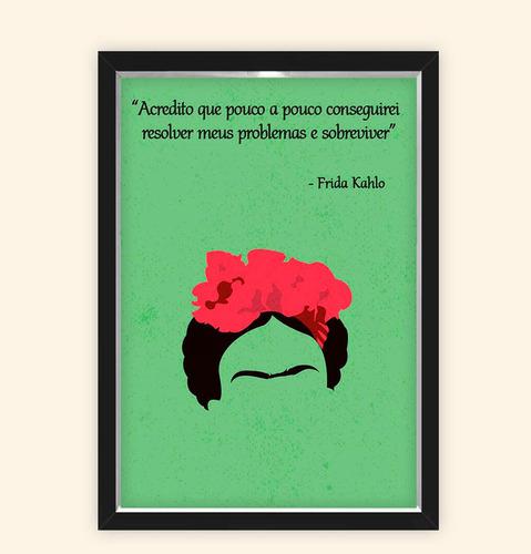 Quadro Caixa 23x33cm Frida Frase Verde