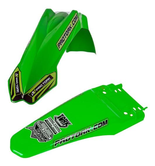 Kit Paralama Dianteiro Traseiro Mx2 Pro Tork Trilha Verde