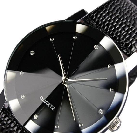 Relógio De Pulso Unissex Quartz Com Pulseira De Couro