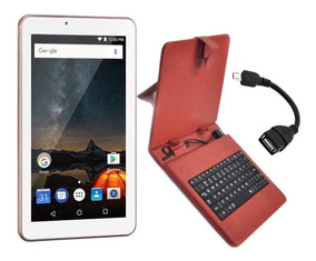 Tablet Wifi Tela 7 Rosa + Capa Com Teclado + Cabo Otg Outlet