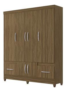 Armario O Closet En Madera 4 Puertas + 2 Cajones 204x165x47c
