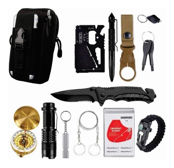 Morral Táctico Molle Kit Supervivencia 13 En 1 Aire Libre Color Negro S-5026n