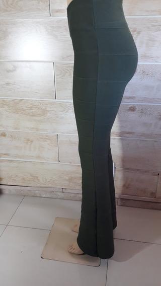 Calça Flare Plus Size Bandagem Cores Da Moda Verde-militar