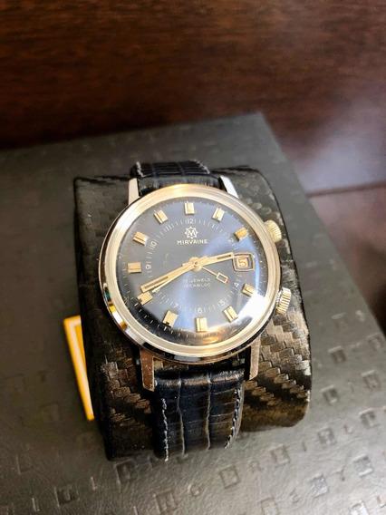 Raro Relógio Mirvaine Despertador Azul Tipo Omega Tissot