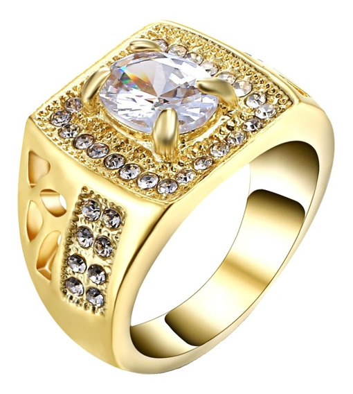 Anel Banhado Ouro Masculino Imperador Pedra Cristal Dia 616