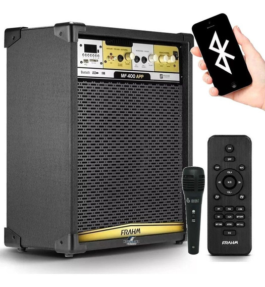 Caixa Amplificada Frahm Mf400 App Bluetooth 300w + Microfone