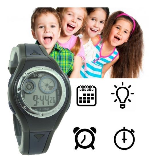 Relógio Digital Fitness Infantil Esporte Cronometro Luz