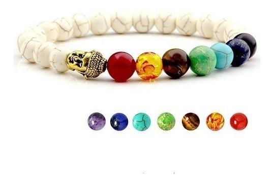 Pulseira 7 Chakras Pedra Natural Howllita Reiki Yoga Oração