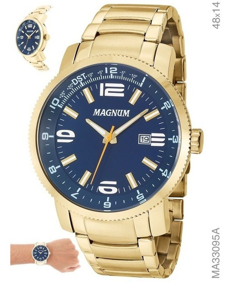 Relógio Masculino Magnum Aço Ma33095a Com Calendário Azul